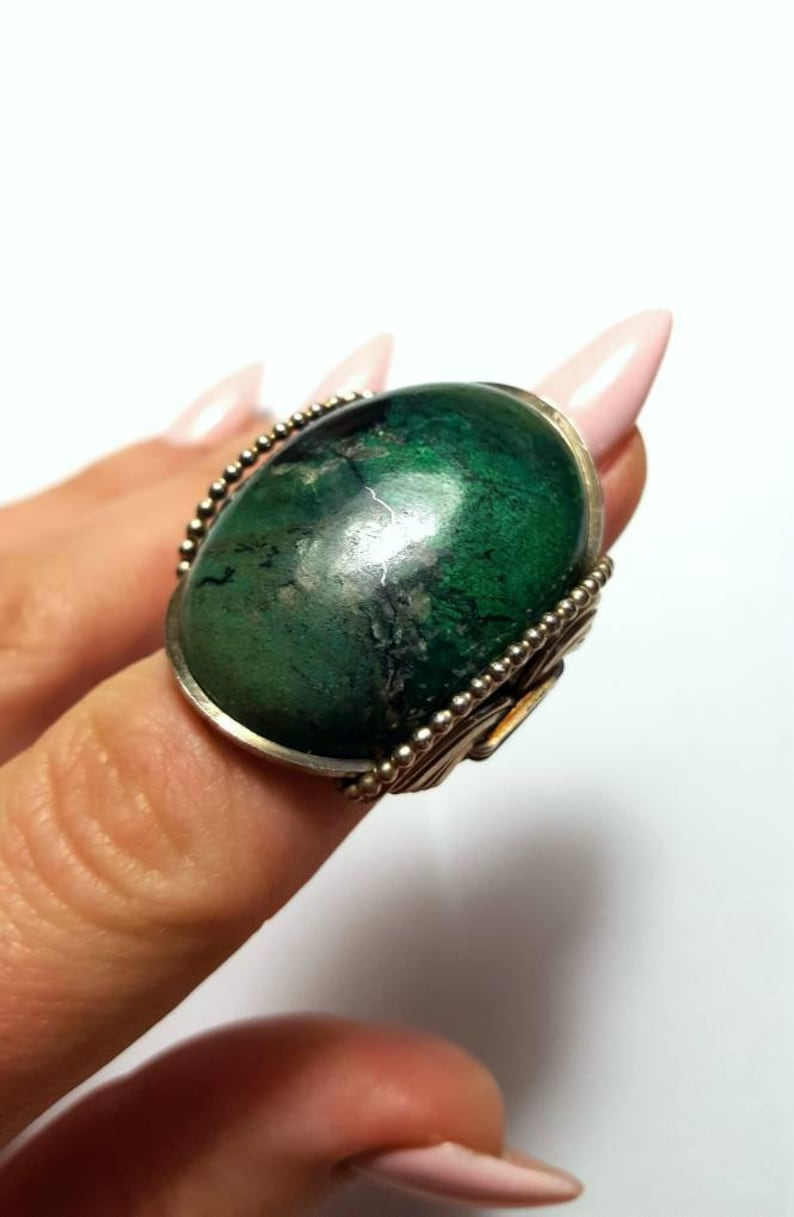 Wrapped Rings Size 9 Ready to Ship Or Handmade Sized to Order Big Green Oval Stone CLEARANCE Chrysocolla Statement Ring Sterling Silver