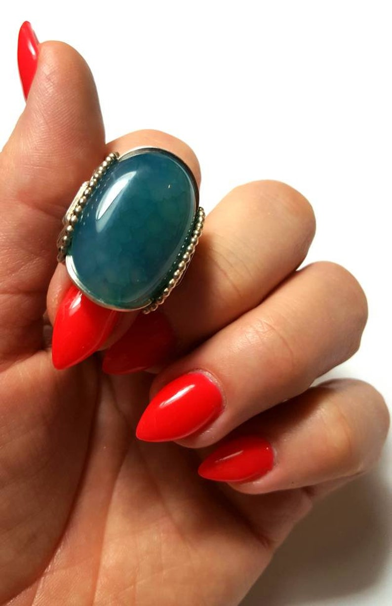 CLEARANCE Teal Blue Agate Ring Size 8 Ready to Ship Aqua Blue Agate Sterling Silver Wrapped Or Handmade to Order U Wrapped Silver Ring