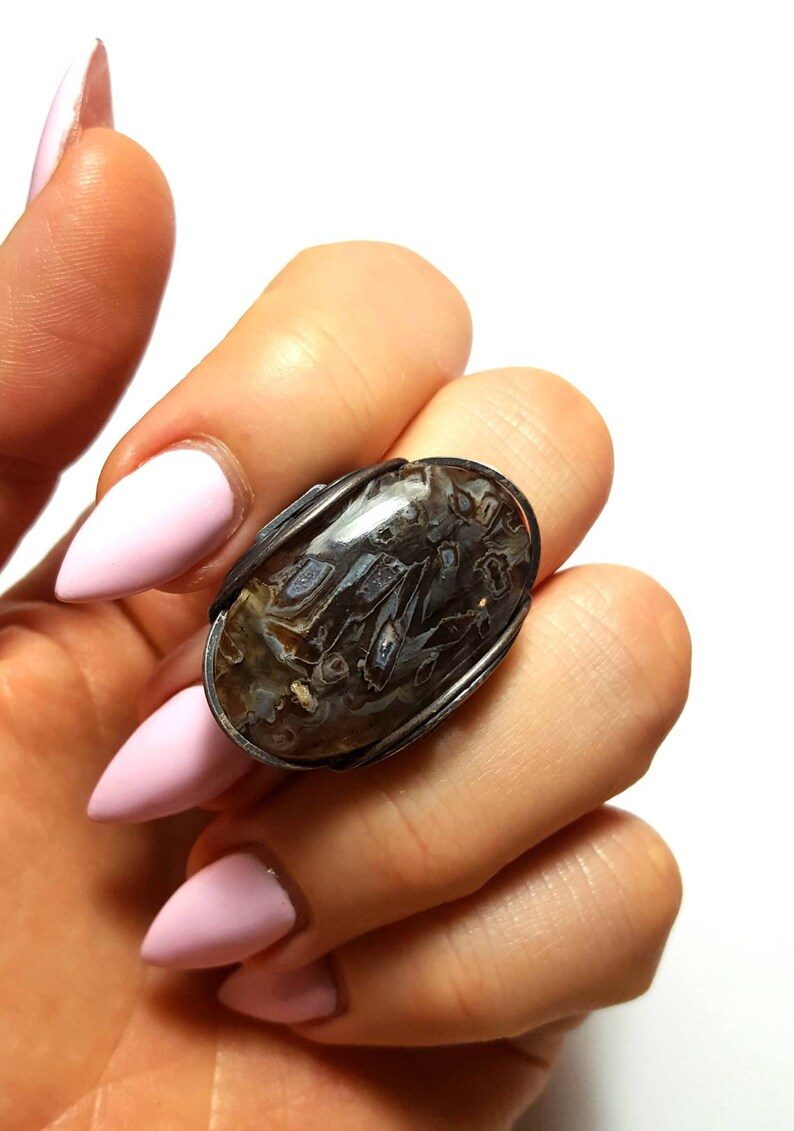 Wrapped Oxidized Antiqued Sterling Silver Or Sized to Order Any Size Size 8 Natural Druzy Ring Pseudomorph Stick Agate