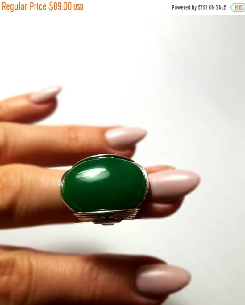 CLEARANCE Green Stone Ring Bohemian Ring Size 6 Ready to Ship Finger Candy or Made to Order Any Size Boho Style Eye Catching