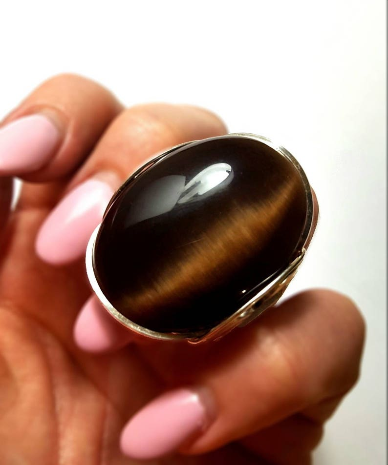 Cats Eye Ring, Chocolate Brown, Size 9 5, or Custom Sized, Sterling Silver,  Mens Ring, Womens Ring, Finger Candy, Cocktail Rings