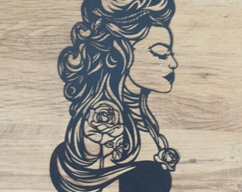 Beauty and the beast/ paper cut/ belle/ fairytale/ gift for her/ gift idea/ belle paper cut/ beauty/ fairytale paper cut/ hand cut