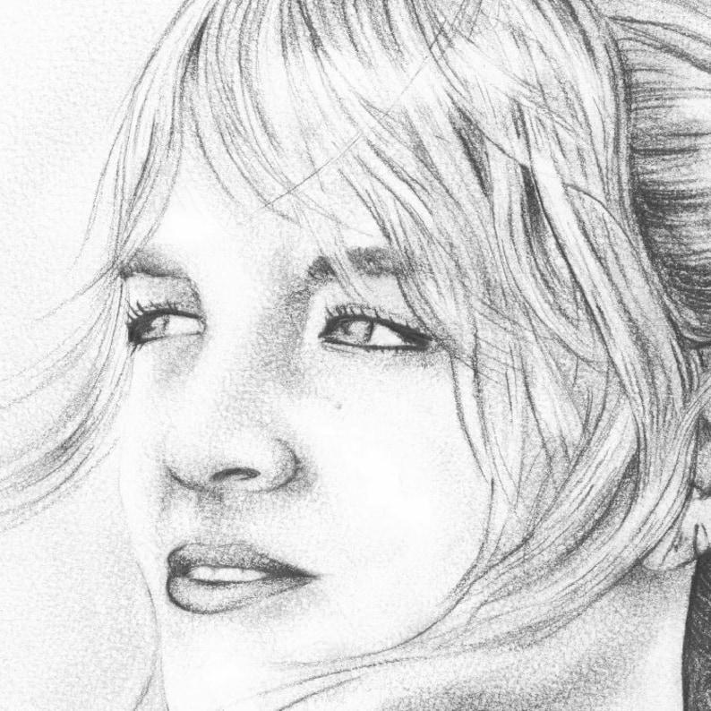 Black /& White CUSTOM Pencil Portrait