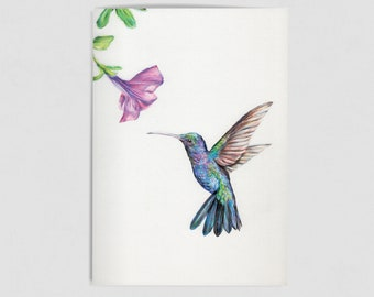 Illustrated Hummingbird A6 notebook