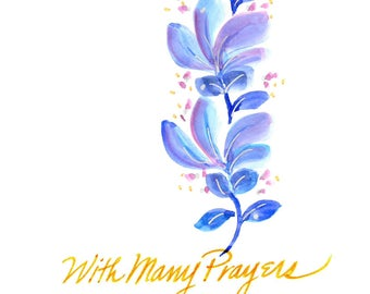Original watercolor greeting card. Not a print. Can be personalized Religious theme.