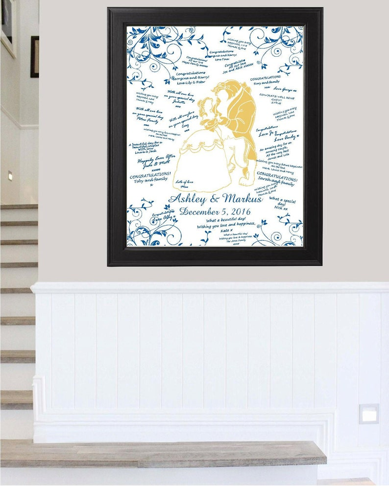 Rustic Wedding Sign Digital Blue And Gold Beauty Beast Wedding Guest Book Alternative Wedding Sign Ready to Hang-Lovebirdslanewedding
