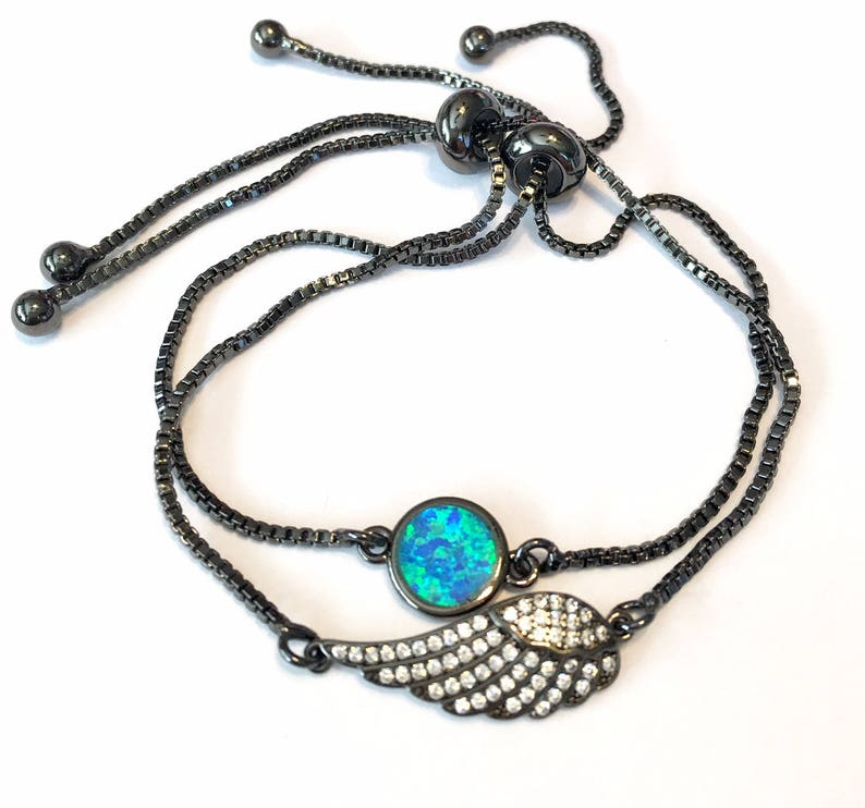 Blue opal in black Bolo bracelet adjustable one size fits most