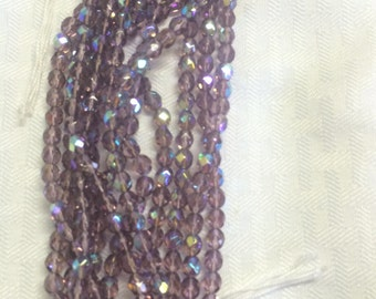 6mm Czech Firepolish glass Amethyst AB. 300 beads.