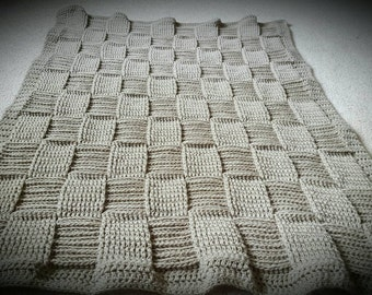 Basket Weave Crochet Baby Blanket in Taupe