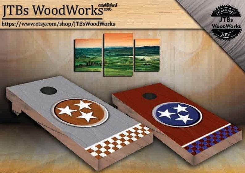 **Cornhole** bean bag toss board DIY TENNESSEE flag Any state Any country any design vinyl wraps pair
