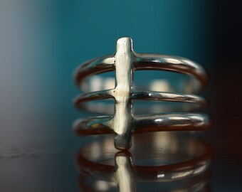 Back Bone Silver ring--Minimal Ring--Comfortable--Sterling Silver--Spine--Architectural--