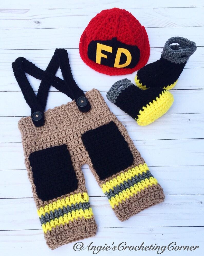 b17326808aa Crochet Newborn Firefighter Set Baby Firefighter Outfit