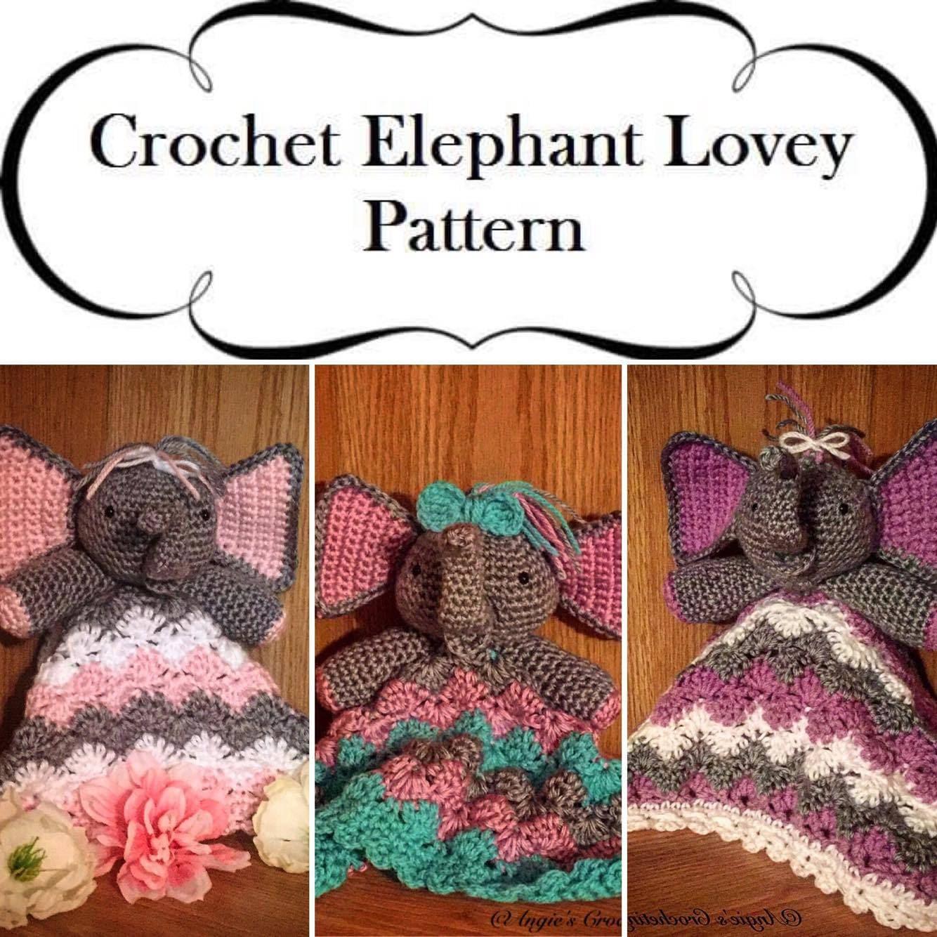 Crochet Elephant Lovey Pattern Elephant Crib Toy Crochet Etsy