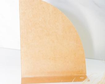 "Pack of 2 | Quarter Moon Menu 8""x9.3""| (1/8"") Clear Acrylic Disc | DIY Menu | Clear Plexiglass | Modern Shapes | Pack of 2"