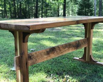 Reclaimed Pedestal Style Farmhouse Table, Wood Table, Dining Table, Rustic Table, Farmhouse Table, Reclaimed Wood Table, Trestle Table