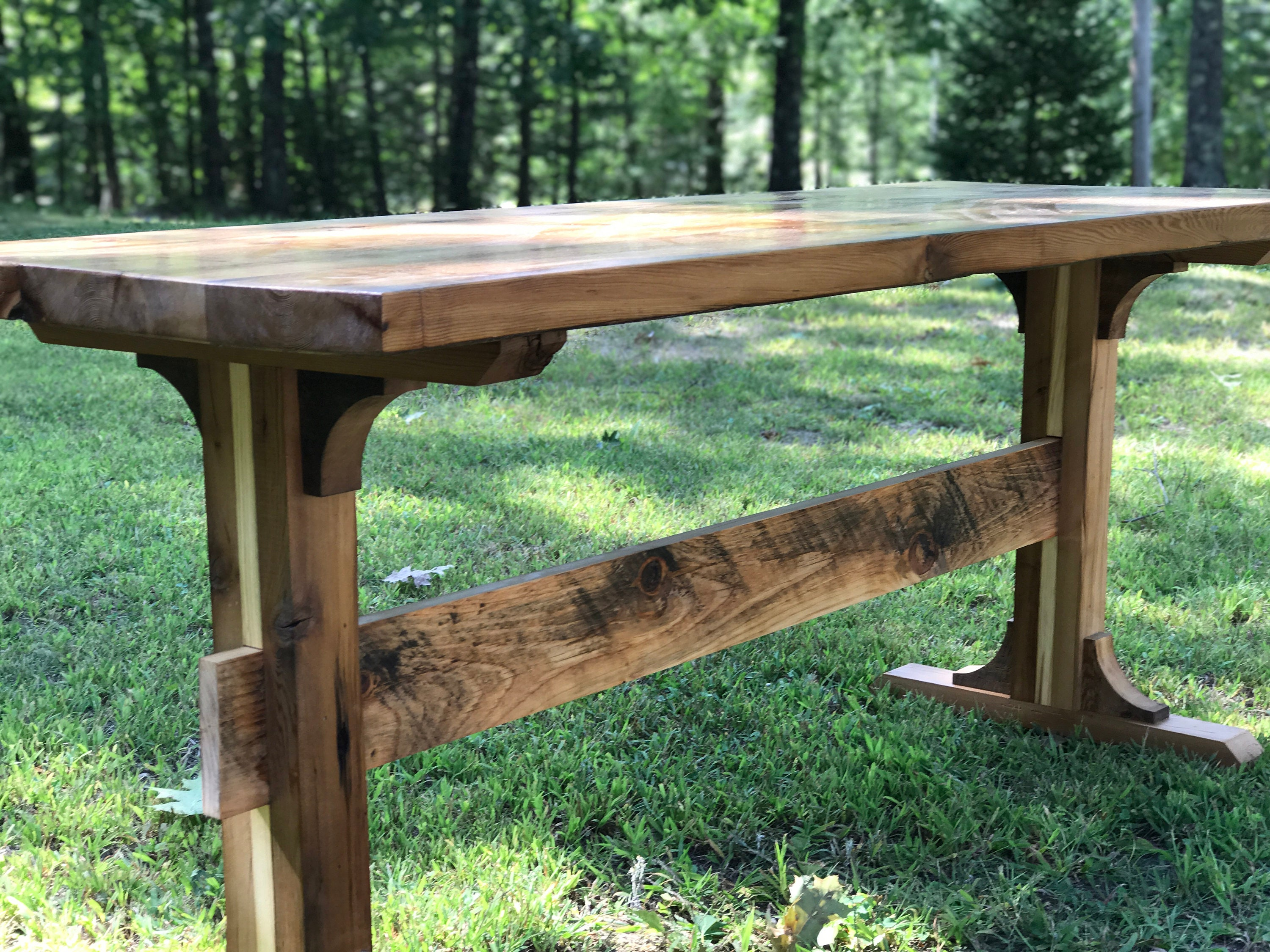Reclaimed Pedestal Style Farmhouse Table Wood Table Dining