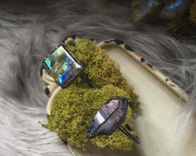 Labradorite and Purple Aura Quartz Crystal Soulmate Cuff Bracelet - Copper and Crystal Cuff Bracelet