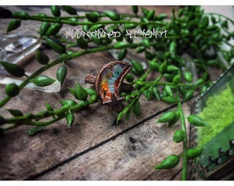 Aurora Swarovski Crystal Moon and Star Ring - Electroformed Copper Swarovski Moon Ring with Star - Rustic Copper Electrofor