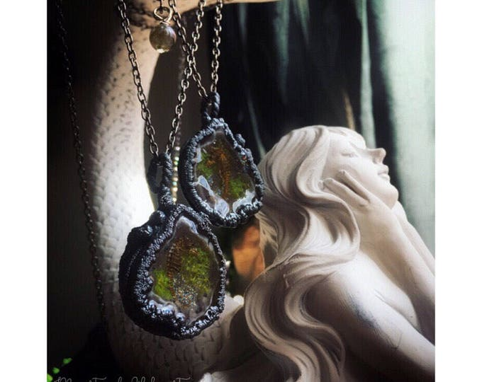 """PAIR of Geode """"soulmate"""" window lockets w/ real seahorse & moss immortalized in dark luscious copper w/ labradorite"""
