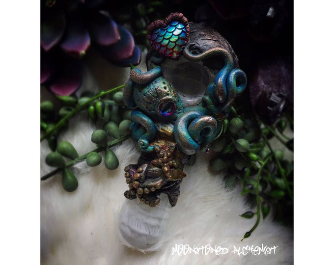 Sculpted Electroformed Octopus Pipe with Yellow Aura Quartz Crystals and Mermaid Scale Heart- Deep Sea Octopus Smokeable Art