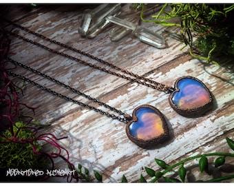 Electroformed Opalite Heart Necklace - Rainbow Opalite Rustic Heart Pendant on a Short Chain - Mermaid Treasures