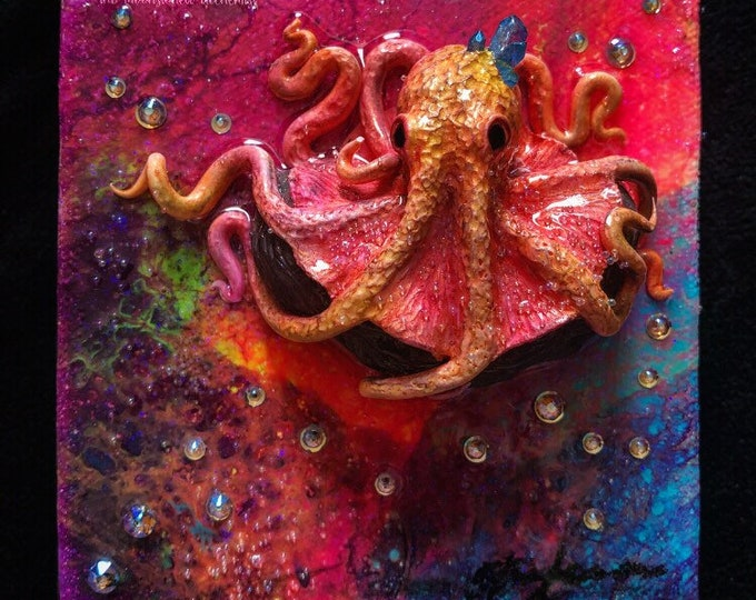 Aura Crystal Crowned Octobabe on painted canvas - Blue Lagoon Octopus Queen Sculpture on Painted Canvas - Gemstone Mixed media sculpted