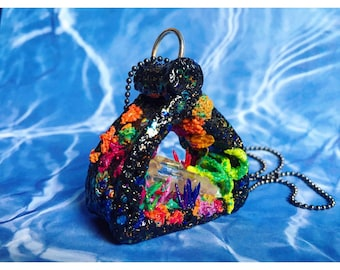 SALE Quartz Cluster Crystal Cave necklace - polymer clay sculpted coral reef with Quartz crystals and starfish