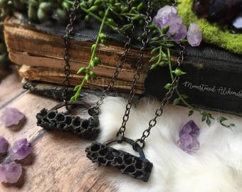 Honey Bee Honey Comb Electroformed Copper Chokers - Romantic Organic Choker - Dark Finish