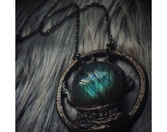 Labradorite Crystal Ball Necklace - fortune teller scrying necklace - dark copper and labradorite crystal necklace