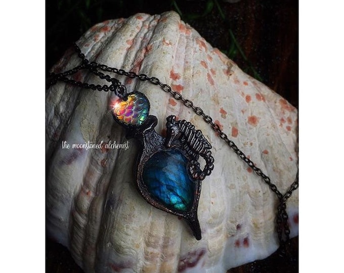 Labradorite Crystal Mermaid Potion Vial necklace - Gemstone Potion Bottle amulet with iridescent rainbow mermaid scales and seahorse