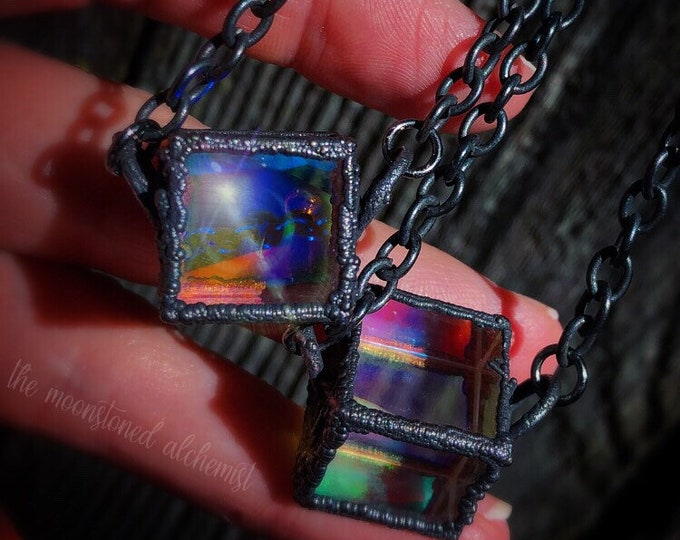 Pandora's Amulet Light Reflecting Glass Holographic Cosmos necklace- Galaxy pendant - Psychedelic Rainbow Prismatic cube