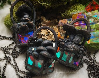 Prismatic Mushroom Scene Necklaces - Psychedelic glass cubes with unique sculpted mushroom scenes, electroformed copper - wearable art