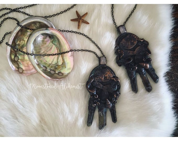 Dark Mermaid Lagoon Amulet with Moonstone and Lemurian Quartz Point crystals - Sculpted Siren Princess Crystal Necklace - all Chakra