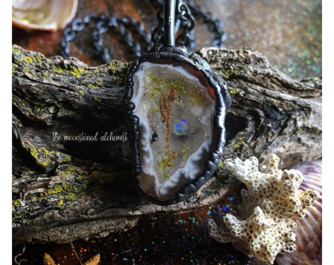 Seahorse and Opal Geode Amulet with Garnet Crystals - real seahorse & genuine opal immortalized and set in dark copper