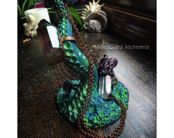 EMERALD Sea Witch Jewelry Dish and Ring Stand- Hand Sculpted Blue Green Octopus Tentacle - One Of A Kind Mermaid Vanity Decor