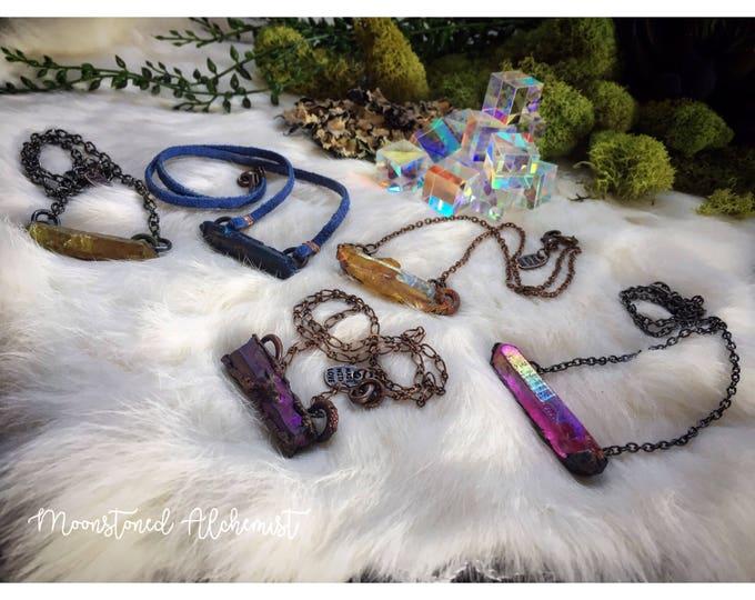 Aura Quartz Crystal Chokers- Rainbow Aura Quartz Crystal Points Electroformed Choker Necklaces - Chakra Crystal Chokers