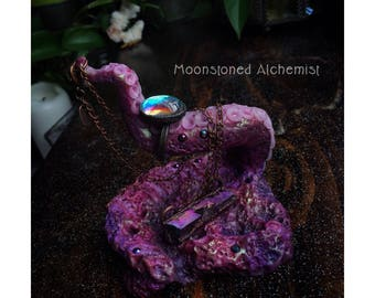 AMETHYST Sea Witch Jewelry Dish and Ring Stand- Hand Sculpted Purple Octopus Tentacle - One Of A Kind Mermaid Vanity Decor