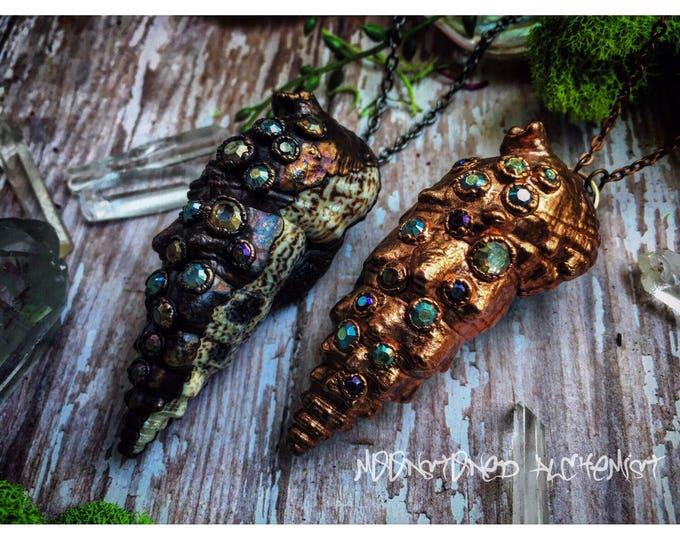 Mermaid Treasure Rhinestone Encrusted Shells Electroformed with Copper - rustic dark oxidation and customizable shiny copper