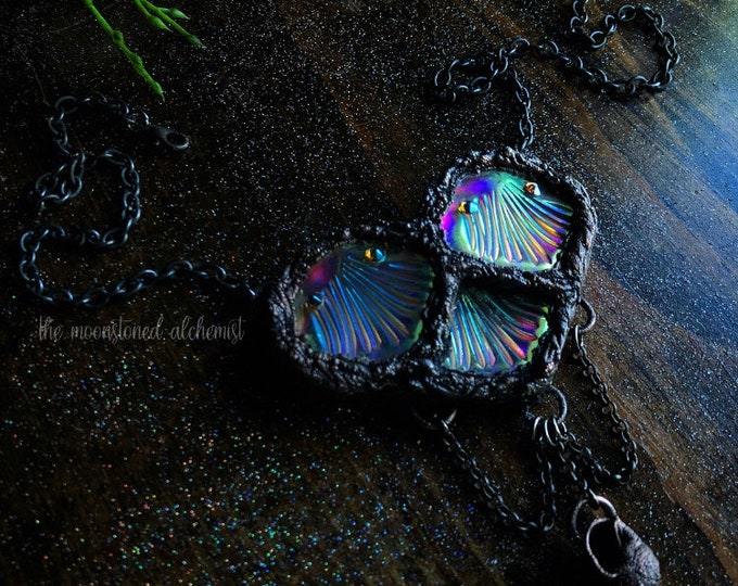 """Custom Ordered Mermaid Scale Heart Amulet in """"Mermaid Queen"""" - Angel Aura Mermaid Scales and Shells Amulet"""