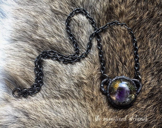 Nature blob amulet infused with Amethyst Crystal - real moss, colorful lichen, and bark immortalized and set in dark copper - forest choker