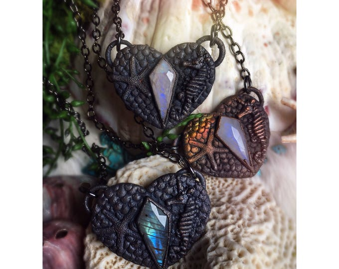 Mermaid's Soul Chokers with Labradorite and Moonstone - Copper Electroformed Mermaid heart full of scales, each with a seaunicorn & sea star
