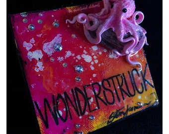 Wonderstruck Octobabe on extra thick painted canvas - Blue Lagoon Octopus Queen Sculpture on hand Painted Canvas - Gemstone Mixed media