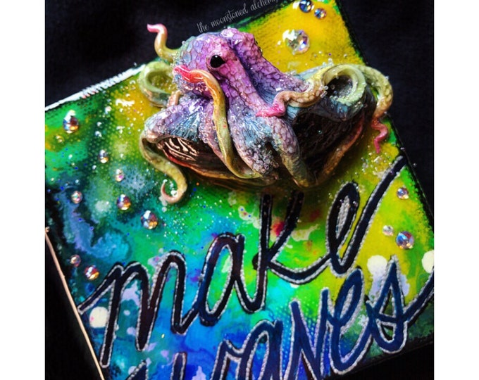 Make Waves Octobabe on extra thick painted canvas - Rainbow Octopus Queen Sculpture on hand Painted Canvas - Gemstone Mixed media