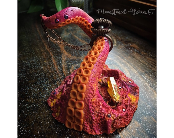CORAL Sea Witch Jewelry Dish and Ring Stand- Hand Sculpted Pink Orange Yellow Octopus Tentacle - One Of A Kind Mermaid Vanity Decor