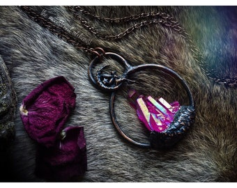 Aura quartz cluster amulet with fairy - pink aura quartz crystal pendant - faerie talisman