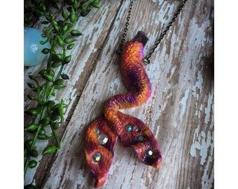 Deal of the week Malibu Sunset Amethyst Crystal Mermaid Tail Necklace - Pink Purple & Orange Mermaid Tail Necklace - Amethyst Mermaid Fin