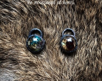 Nature blob amulets infused with crystals, real moss, lichen, and bark immortalized and set in dark copper