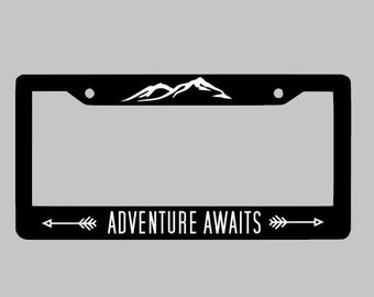 Adventure Awaits , License Plate Frame , Car License Plate , Personalized License Plate Custom Frame Holder