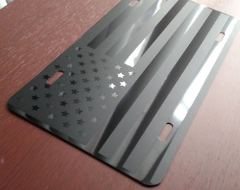 American Flag License Plate, Flag Front License Plate, Aluminum License Plate, Custom License Plate