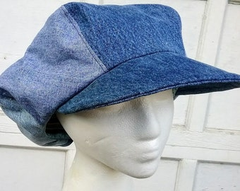 Denim Newsboy Hat Fashion Mens Six Panel Applejack Gatsby Cap a33c917403a